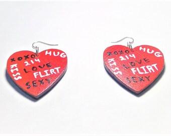 Wood Red, Black, & White Painted Heart Word Earrings
