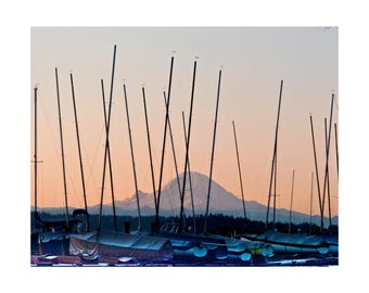 Mt Rainier Photo Greeting Card, Mountain Picture Blank Note Card, Mount Rainier Washington Card, Nature Photo Sunset Card