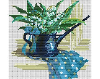 Cross Stitch Pattern Lilies of the Valley flowers counted embroidery