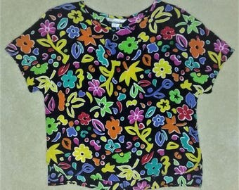 Vintage 90s Colorful Abstract Floral Blouse Rayon Women's Size Medium