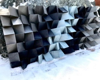 "Reclaimed, Wood art, Wall Art, Abstract, Decor, Room Decor, Office, Boys Room, Sound Panel, Living Room, ""Winter Gray"""