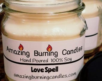 Soy Candle-8oz candle-Christmas gift for her-Amazing Burning Candles-Love Spell