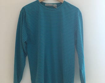 women's vintage striped three-quarter sleeve top in mostly cyan.