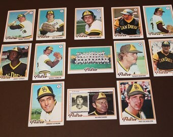 1978 Topps San Diego Padres 13 Cards