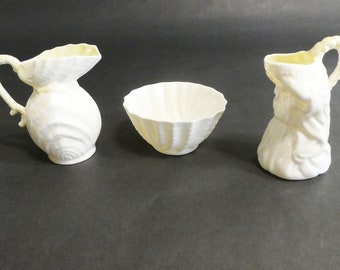 Belleek Ireland Set of two Creamers and one Sugar Bowl