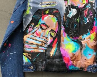 Original hand painted denim jacket