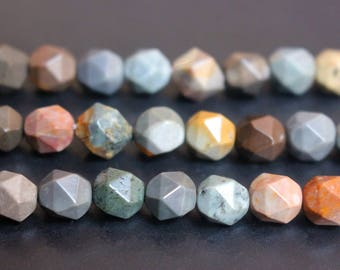 Natural Polychrome Jasper faceted stars cut nugget beads 6mm 8mm 10mm 12mm,loose beads,semi-precious stone,15 Inches Full strand