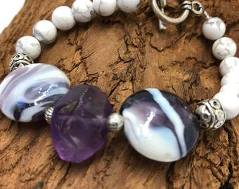 Rough Amethyst and Howlite bracelet