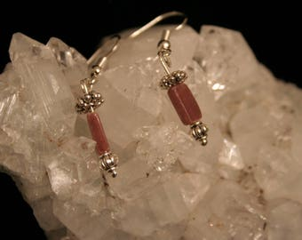 Beaded earrings pink and silver