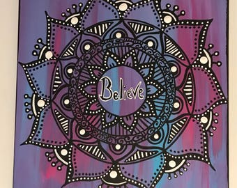 Believe Inspirational Mandala Painting
