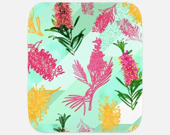 "Beautiful Australian Native Floral Print - 12""x16"" Baby Burp Cloth - Baby Gift - Newborn Gift"
