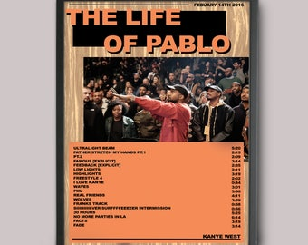 Kanye West The Life Of Pablo Custom Music Poster // A3 Album Art // Wall Art Poster Design