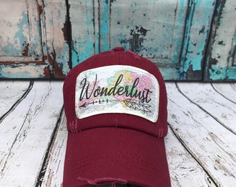 Wonderlust hat// Baseball hat// travel hat// Adverturer hat// Wonderlust// Gift