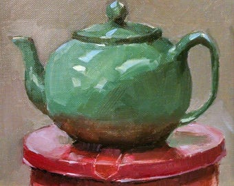 Studio Teapot, oil on canvas panel, 8x8 inches