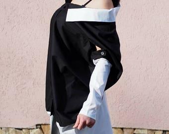 Loose asymmetric shirt/plus size woman shirt/loose casual shirt/oversized woman shirt/black asymmetric shirt