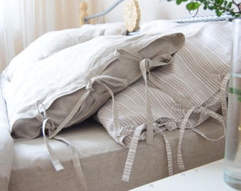 100% Linen Pillowcase Housewife Organic Pillow case Cover Flax Natural sizer