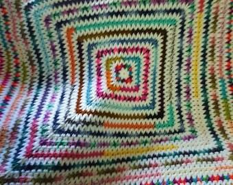 crocheted multicolor afghan
