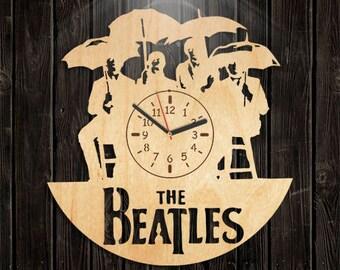 Music Gift For Men, Beatles Wooden Clock, John Lennon, Paul McCartney, Wall Clock Large, Valentines Day Gift, Handmade Gifts, Handmade Clock