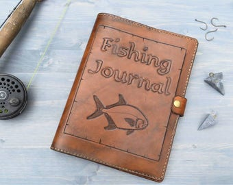 Leather Fishing Journal with Hand Carved Cover