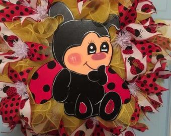 Lady bug wreath, wreath, spring wreath, summer wreath, front door wreath, red and black and yellow wreath