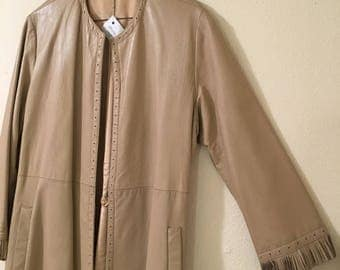 Long Long Leather Jacket with Fringe