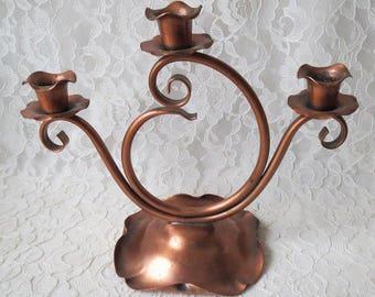 Vintage Solid Copper Gregorian 3 Arm Candelabra Candle Holder Rustic