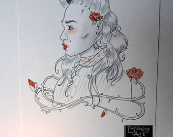 Constance with roses - ink watercolor illustration