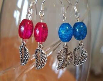 Crackle Bead and Leaf Earrings