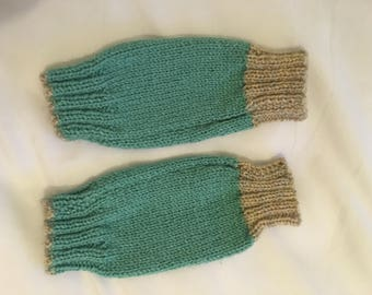 Hand knitted turquoise fingerless gloves