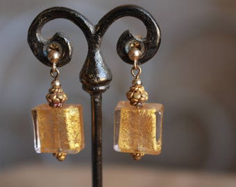 Venetian glass, gold earrings