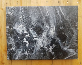 Black White Silver Glitter Fluid Acrylic Pour Painting Wall Decor