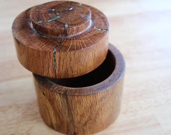 Round wood container with lid, jewelry box, treasure box