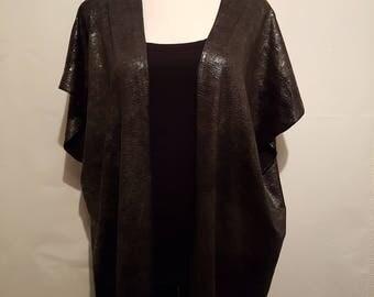 Handmade Chiffon Kimono - Black Leather Look - Fits to Size 22 | Kimono Jacket | Kimono Top | Kimono Dress | Kimono Robe | Kimono Cardigan