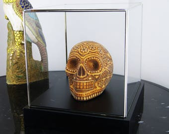 Beaded Mexican Huichol Skull in Display Case, Beige & Brown Glass