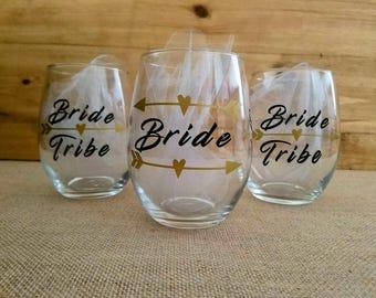 Bride Tribe Glass Set, Wine Glass, Custom Glasses