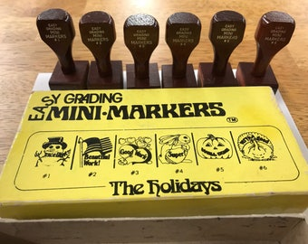 "Easy Grading Mini Markers ""The Holidays"" Set / ABC Rubber Stamp Co. Pikesville, Maryland"