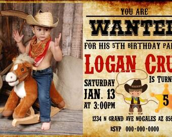 20 cowboy birthday invitations - wild west - cowboy - cowgirl