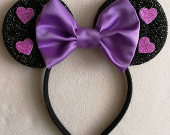 Lilac Valentines glitter heart minnie mouse ears.