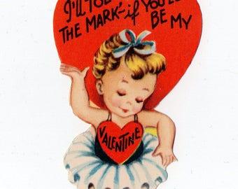 Vintage Ballerina Valentine   Greeting Card   Valentine's Day, Valentines, Child, Girl, Dancing, Dance, Tutu, Ballet Dancer   Paper Ephemera