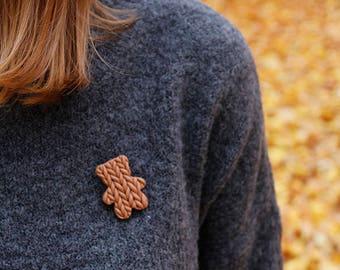 Knitted teddy-bear , fimo brooch,  cute brown bear, gift for bestfriend , handmade teddy bear, teddy-bear , kniited brooch, for girls