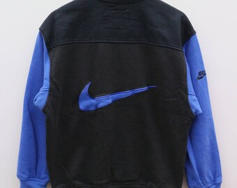 NIKE Sportswear Big Logo Black Blue Vintage Sweater Sweatshirt Size M