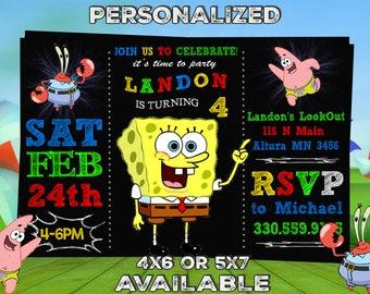 Spongebob Invitation, Spongebob Birthday Invitation, Spongebob, Spongebob Printable, Spongebob Card - Printable Digital File