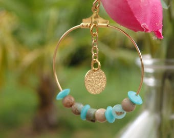 earring hoop turquoise and gold plated backing