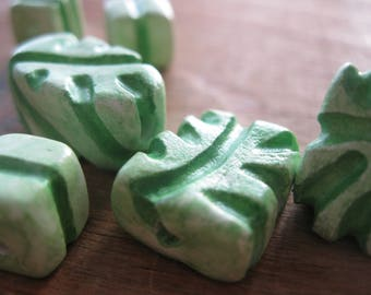 Floral Beads, Clay Beads, Carved Beads, Green Leaves, Plants Beads