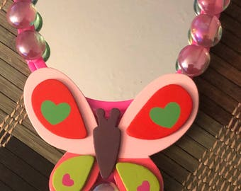 Pink Butterfly Mirror