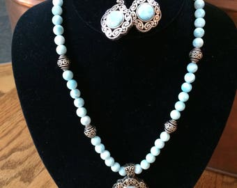 Jewelry Necklace with Earring Set LARIMAR and Sterling Silver