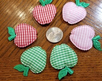 Cute Padded Applique Gingham Apples 20 Pieces for sewing/doll making/hairbow/scrapbooking/crafts, etc.