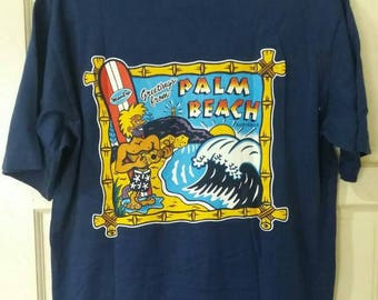 MAMBO Vintage 90s Palm Beach Graphic T shirt. Medium size. Unworn. New old stock