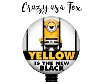 """Minion """"Yellow is the New Black"""" Retractable Badge Holder, Badge Reel, Lanyard, Stethoscope ID Tag, Rn cna lpn rrt md pa Gift"""