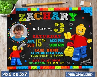 Lego Birthday invitation, Lego Birthday, Lego Party, Lego invitation, Lego invitation girl, lego invitations photo, Lego printable, Lego tag